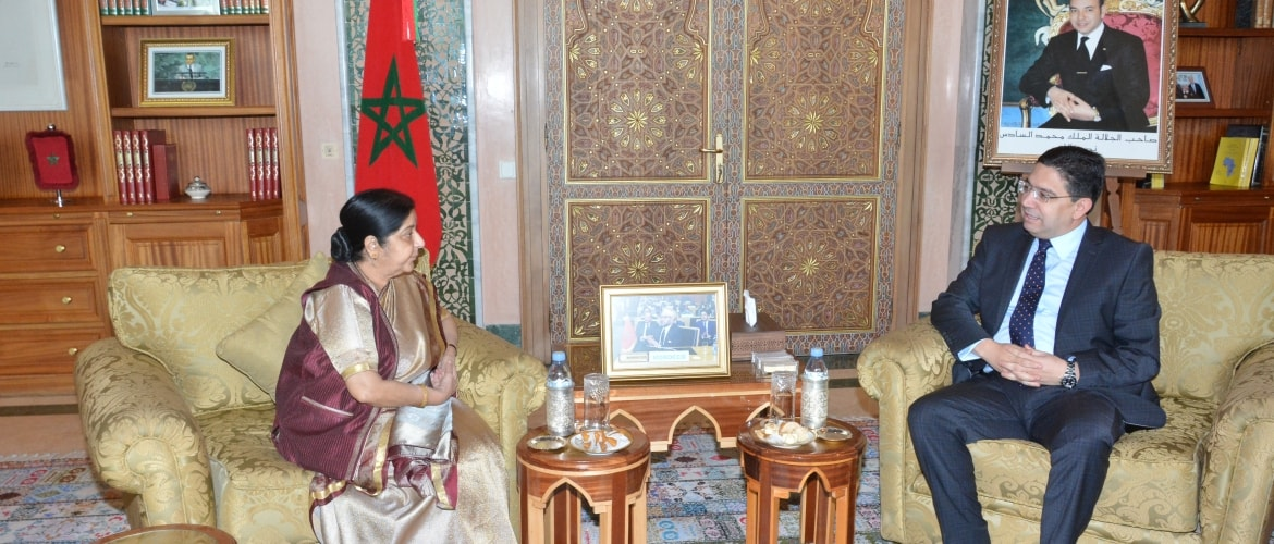 Meeting between Hon'ble EAM and Hon'ble Minister of Foreign Affairs and International Cooperation of Morocco Nasser Bourita